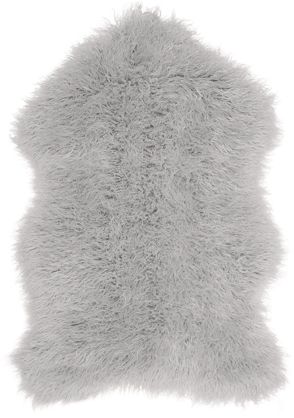 Kunstfell Morten, gelockt, Vorderseite: 67% Acryl, 33% Polyester, Rückseite: Polyester, Hellgrau, 60 x 90 cm