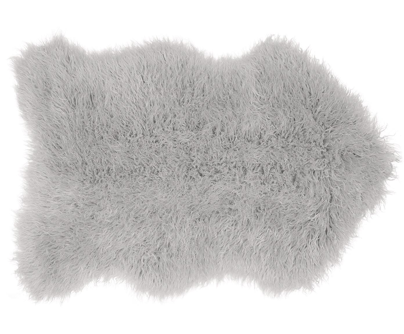 Imitatie schapenvacht Morten, gekruld, Bovenzijde: 67% acryl, 33% polyester, Onderzijde: polyester, Lichtgrijs, 60 x 90 cm