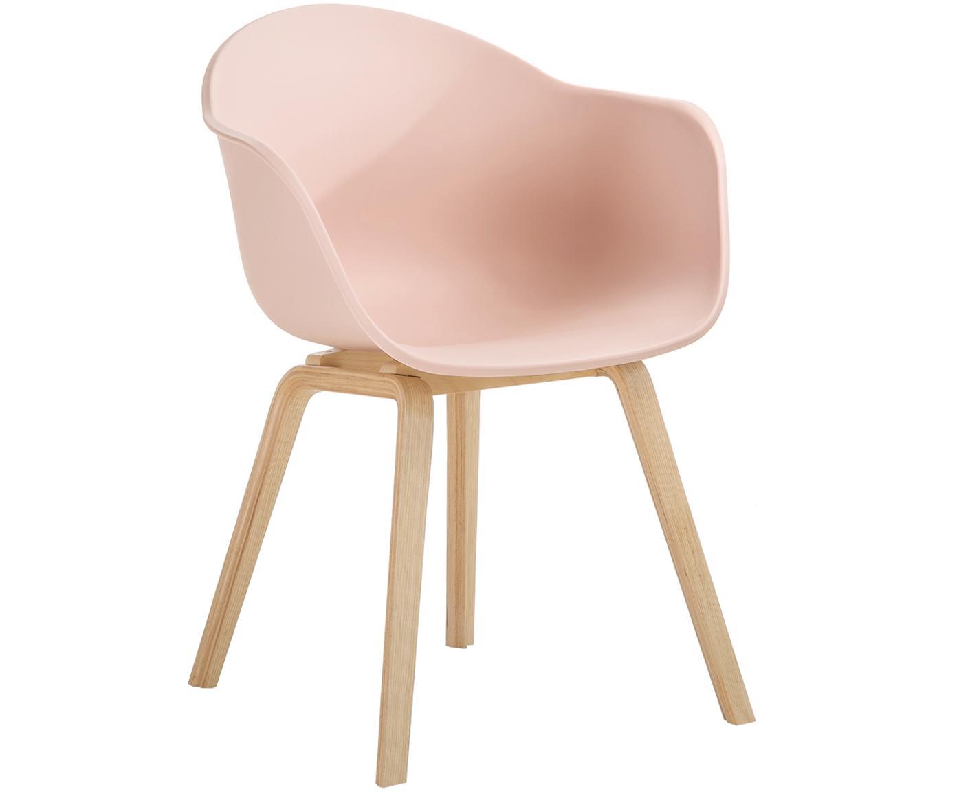 Sedia con braccioli e gambe in legno Claire, Seduta: materiale sintetico, Gambe: legno di faggio, Seduta: rosa Gambe: legno di faggio, Larg. 61 x Prof. 58 cm