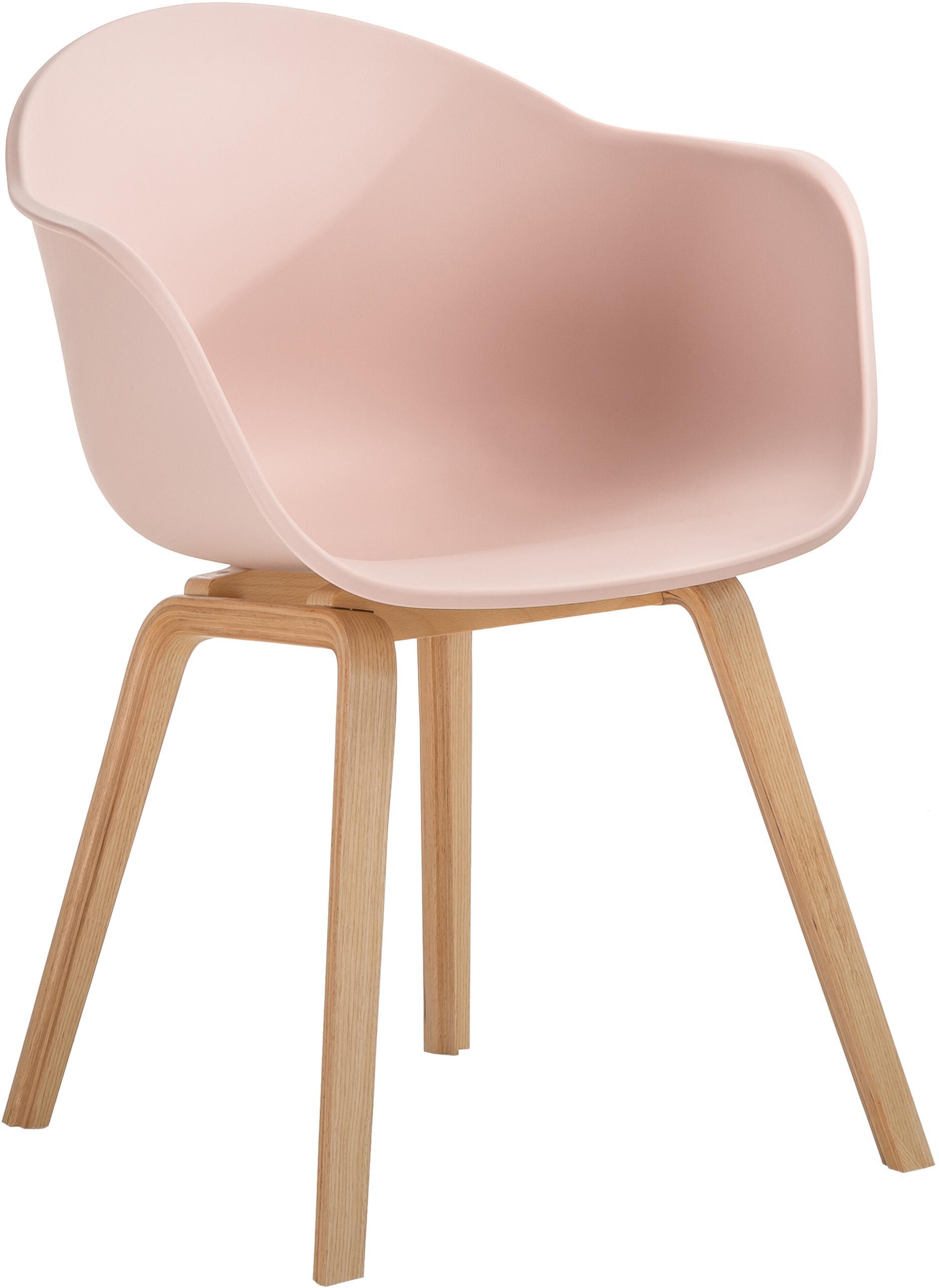 Kunststoffen armstoel Claire met houten poten, Zitvlak: kunststof, Poten: beukenhout, Zitvlak: roze. Poten: beukenhoutkleurig, B 61 x D 58 cm