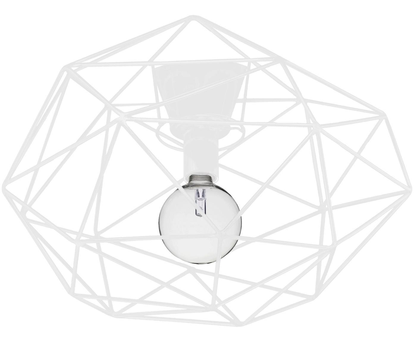 Plafoniera in bianco Diamond, Ottone verniciato, Bianco, Ø 50 x Alt. 32 cm