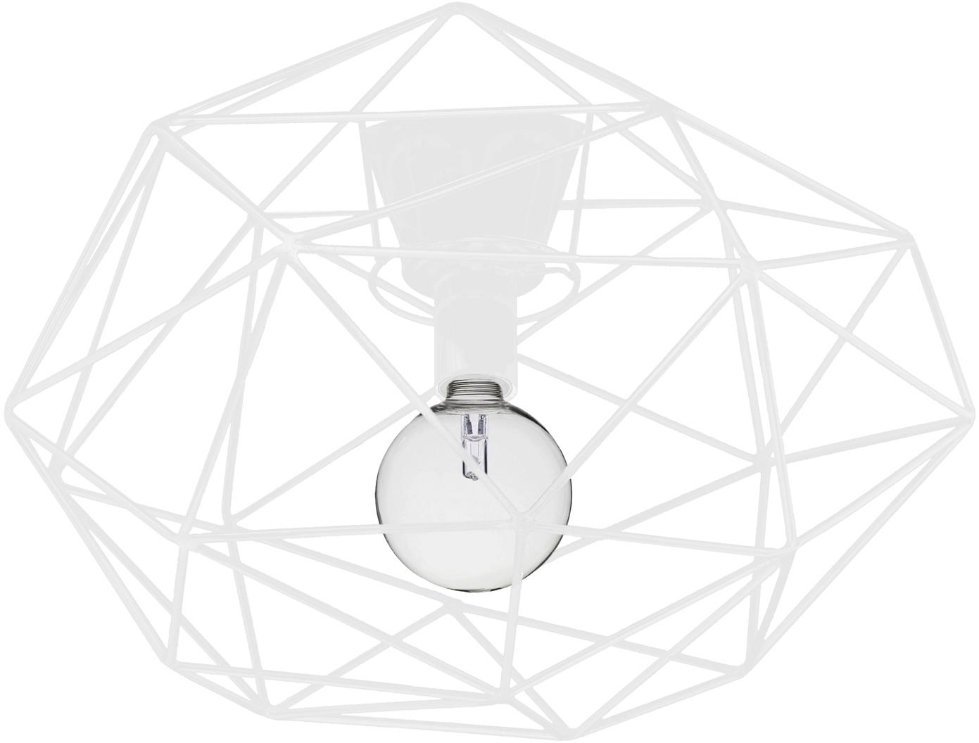 Deckenleuchte Diamond in Weiss, Messing, lackiert, Weiss, Ø 50 x H 32 cm