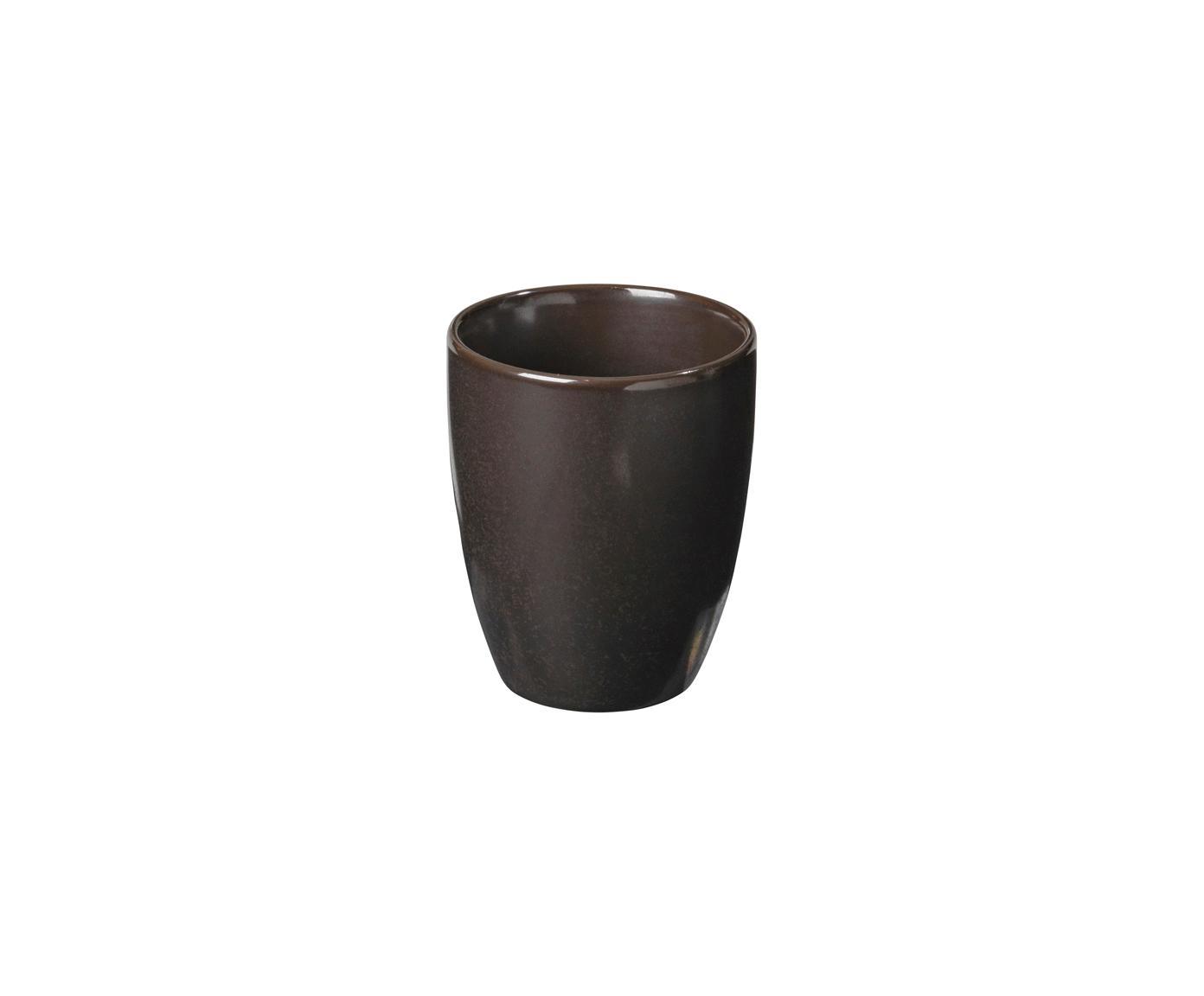 Tazas de café artesanales Esrum Night, 4uds., Gres, esmaltado, Marrón grisáceo, Ø 7 x Al 8 cm