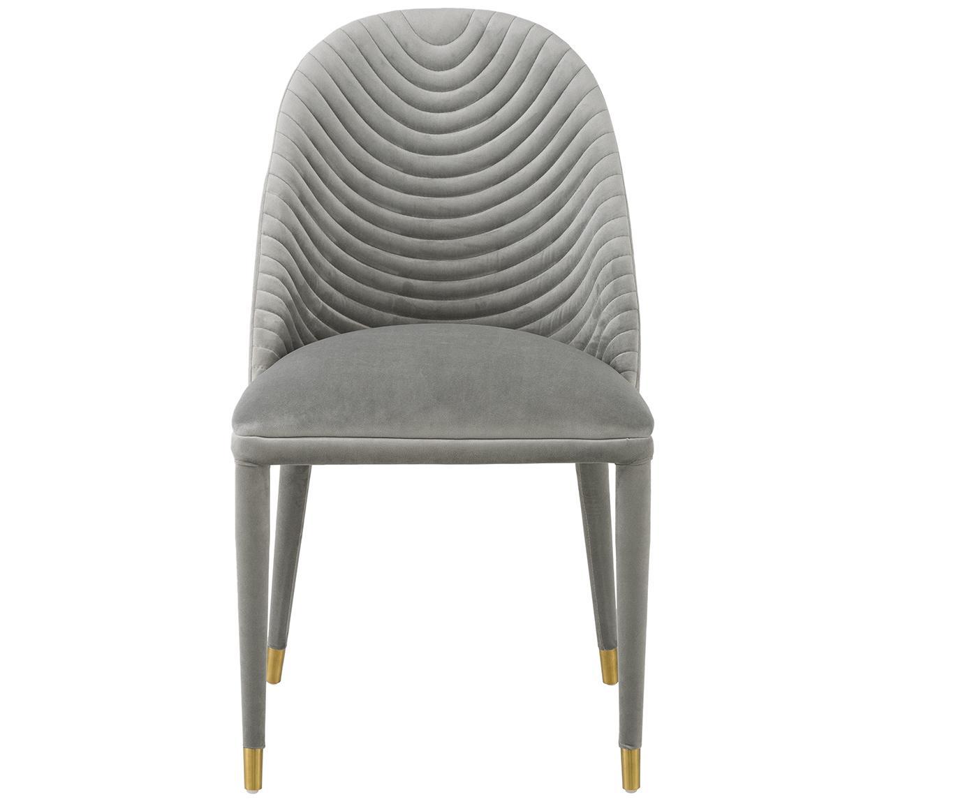 Krzesło tapicerowane z aksamitu Skyler, Tapicerka: aksamit (poliester) 5000, Nogi: metal pokryty aksamitem (, Tapicerka: szary Nogi: czarny, odcienie złotego, S 48 x W 85 cm