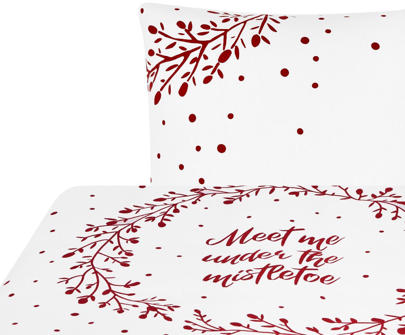 Pościel z flaneli Mistletoe, Biały, czerwony, 135 x 200 cm