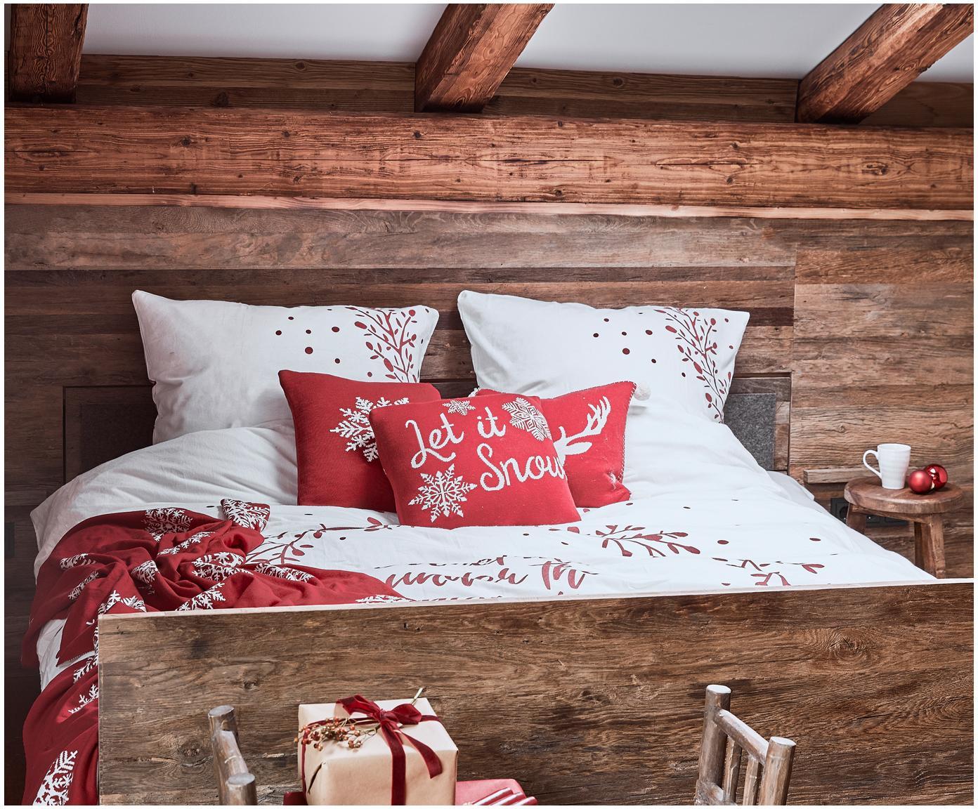 Flanell-Bettwäsche Mistletoe in Weiß/Rot, Webart: Flanell Flanell ist ein s, Weiß, Rot, 240 x 220 cm + 2 Kissen 80 x 80 cm
