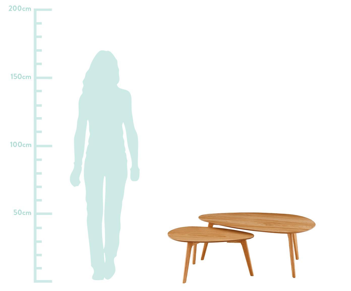 Set de mesas de centro en roble Bloom, 2uds., Tablero: fibras de densidad media , Patas: madera de roble, Roble, Tamaños diferentes