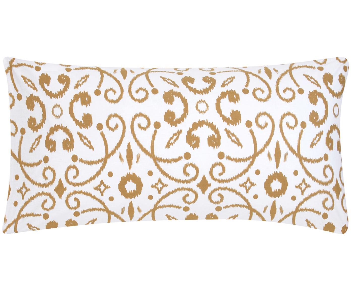 Poszewka na poduszkę z perkalu Antje, 2 szt., Biały, musztardowy, S 40 x D 80 cm