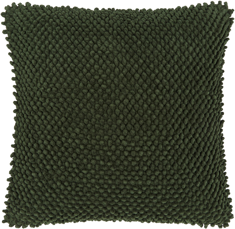 Kissenhülle Indi mit strukturierter Oberfläche in Dunkelgrün, 100% Baumwolle, Dunkelgrün, 45 x 45 cm