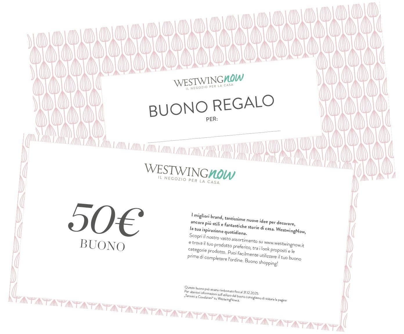 Buono regalo, Coupon stampato su carta di alta qualità e con busta propria, Bianco, 50