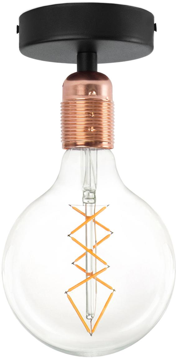 Plafondlamp Uno zonder lamp, Baldakijn: gepoedercoat metaal, Fitting: verkoperd metaal, Zwart, koperkleurig, Ø 10 x H 10 cm