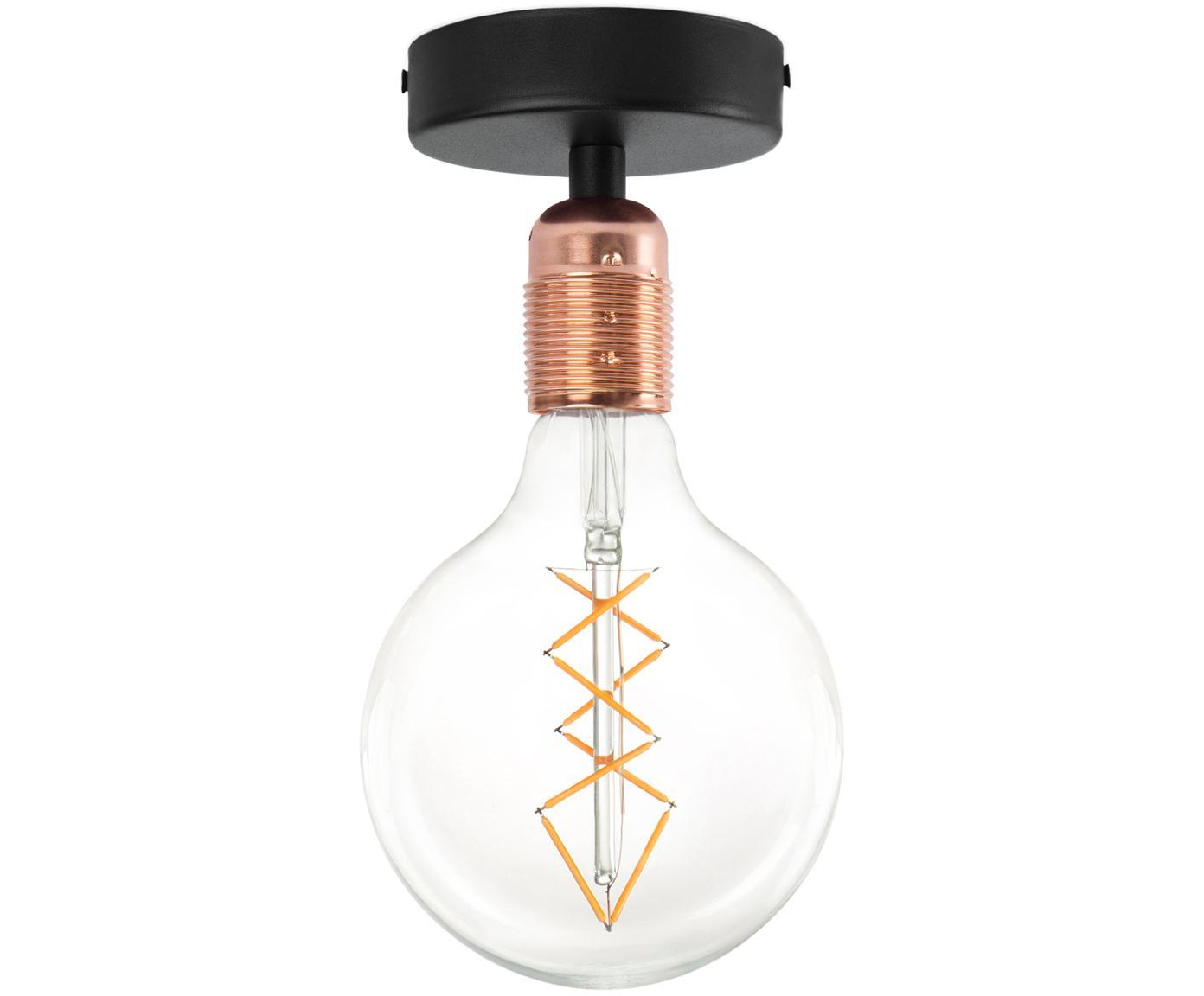 Plafoniera senza lampadina Uno, Baldacchino: metallo verniciato a polv, Nero, rame, Ø 10 x Alt. 10 cm