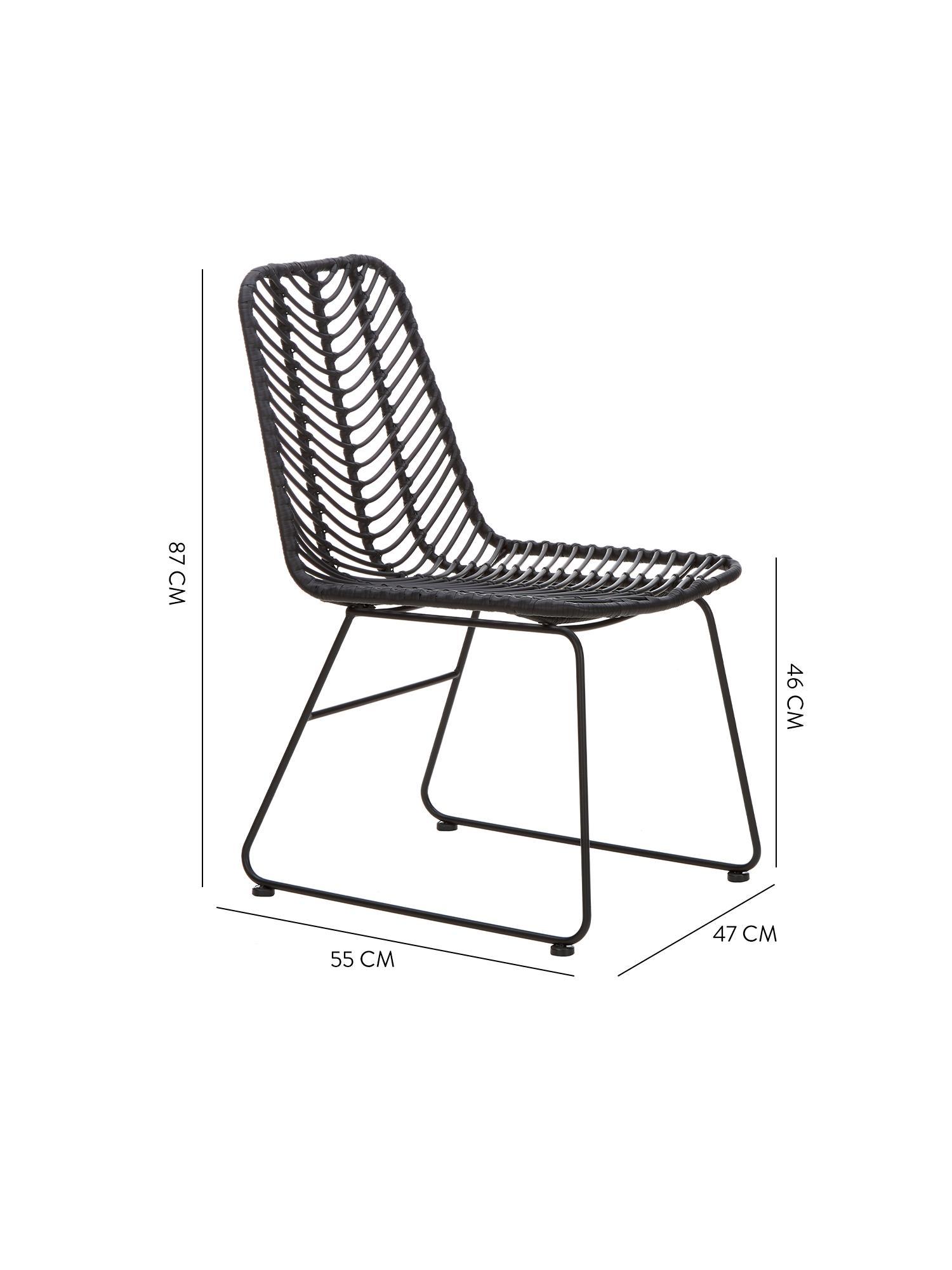 Silla de poliratán Providencia, Asiento: red de polietileno, Estructura: metal con pintura en polv, Negro, An 44 x F 55 cm