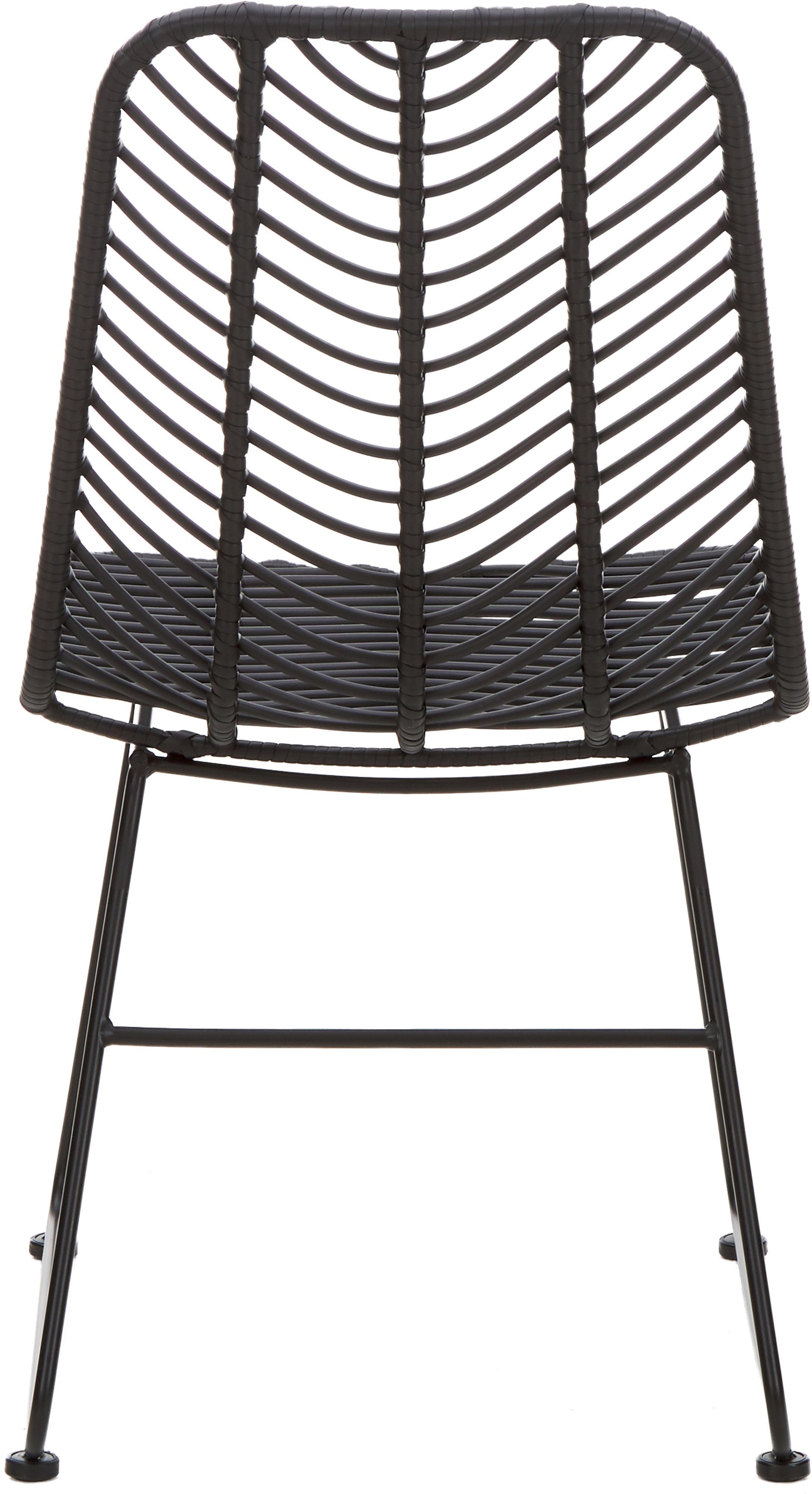 Polyrotan stoel Providencia, Zitvlak: polyethyleen-vlechtwerk, Frame: gepoedercoat metaal, Zwart, B 47 x D 63 cm