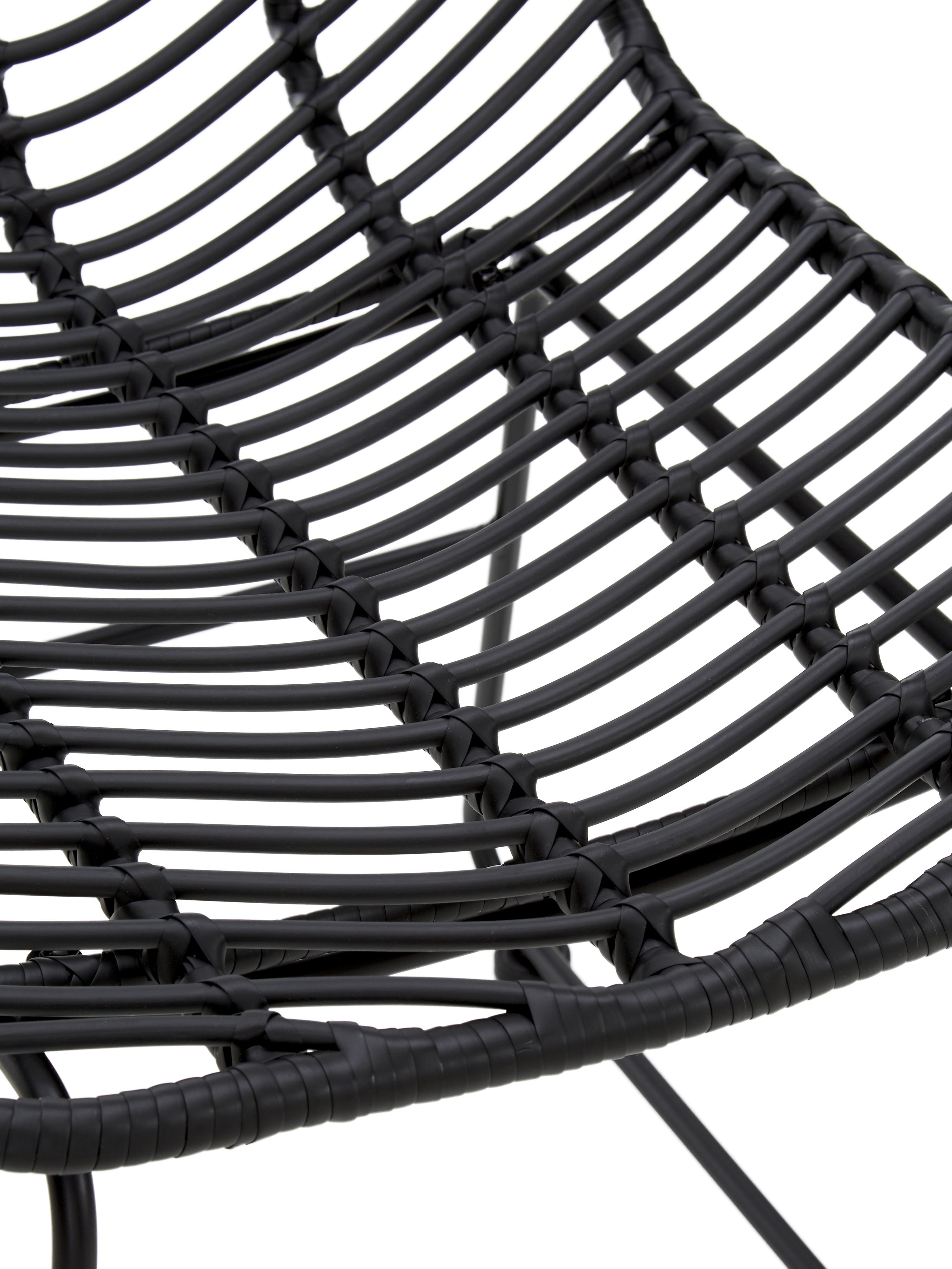 Krzesło z polirattanu Providencia, Stelaż: metal malowany proszkowo, Czarny, S 47 x G 63 cm