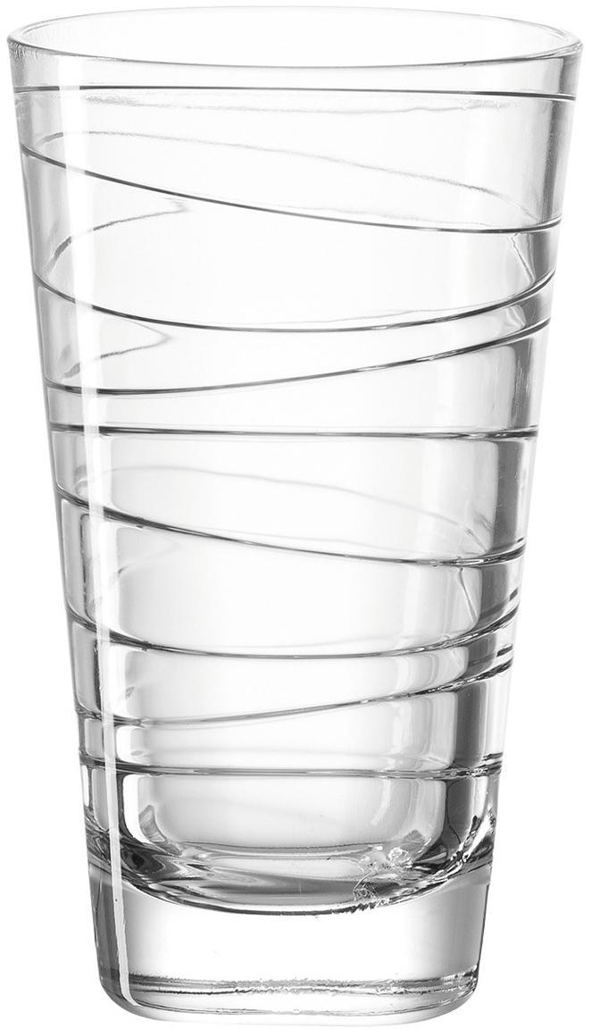 Waterglazen Vario met fijne lijnen, 6-delig, Natriumkalkglas, Transparant, Ø 8 x H 13 cm
