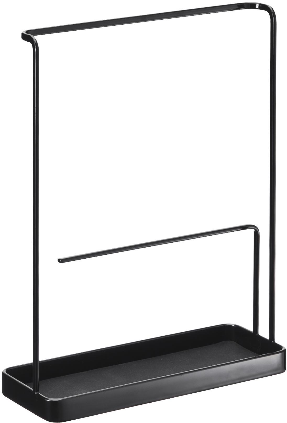 Sieradenhouder Tower, Gelakt staal, Zwart, 20 x 26 cm