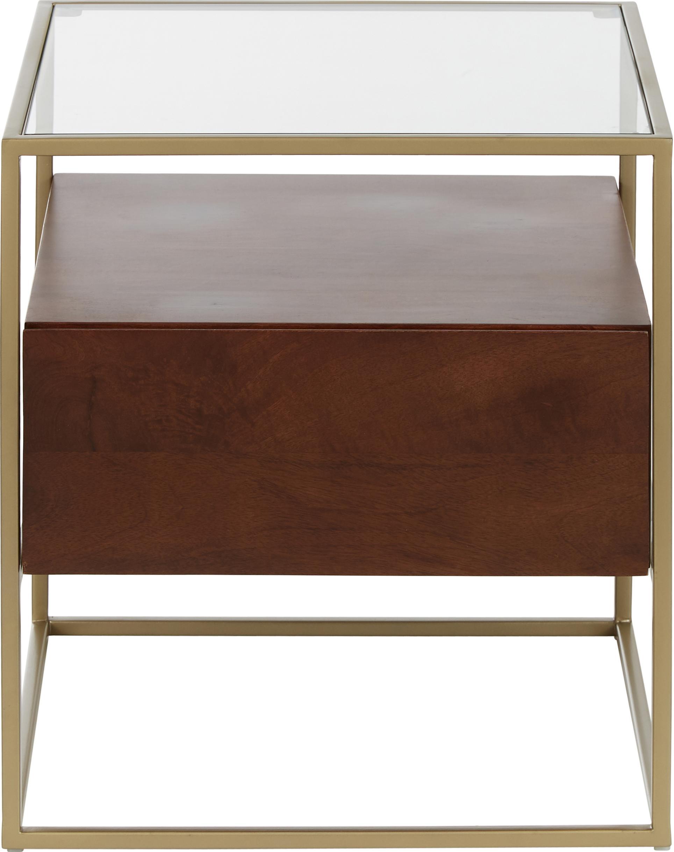 Tavolino con cassetto Theodor, Piano d'appoggio: vetro, Struttura: metallo verniciato a polv, Trasparente, legno di mango, dorato, Larg. 50 x Alt. 50 cm