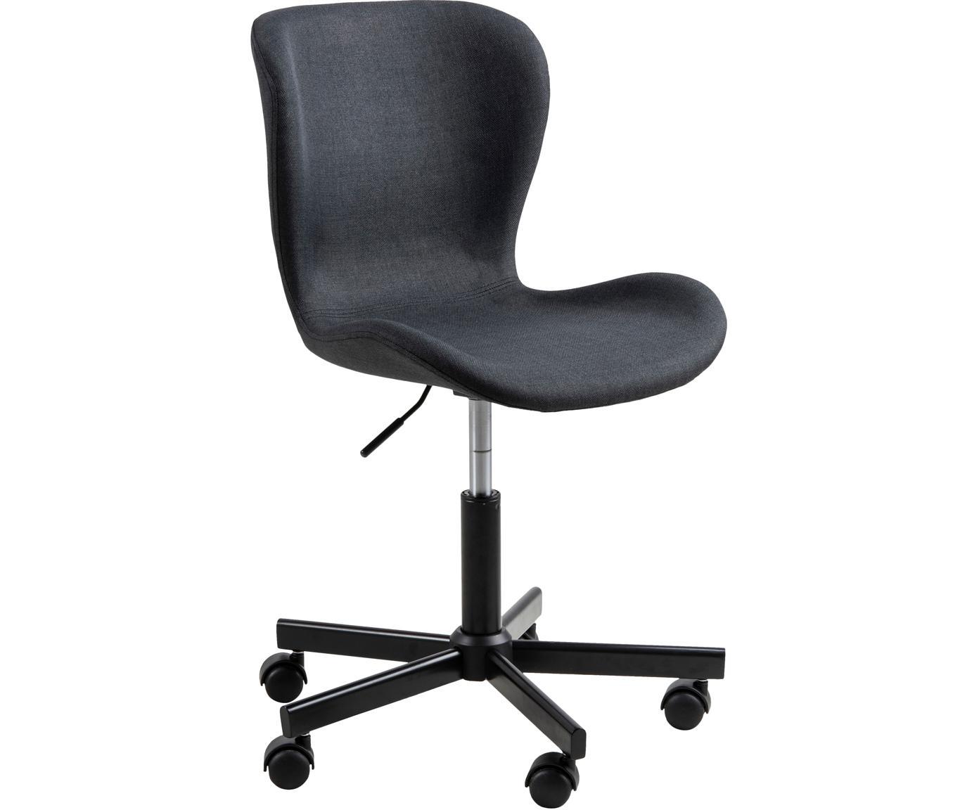Biurowe krzesło obrotowe Batilda, Tapicerka: tkanina, Nogi: metal malowany proszkowo, Antracytowy, S 55 x G 54 cm
