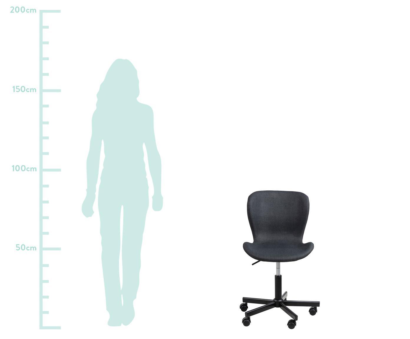 Bürodrehstuhl Batilda, höhenverstellbar, Bezug: Stoff, Beine: Metall, pulverbeschichtet, Rollen: Kunststoff, Anthrazit, B 55 x T 54 cm