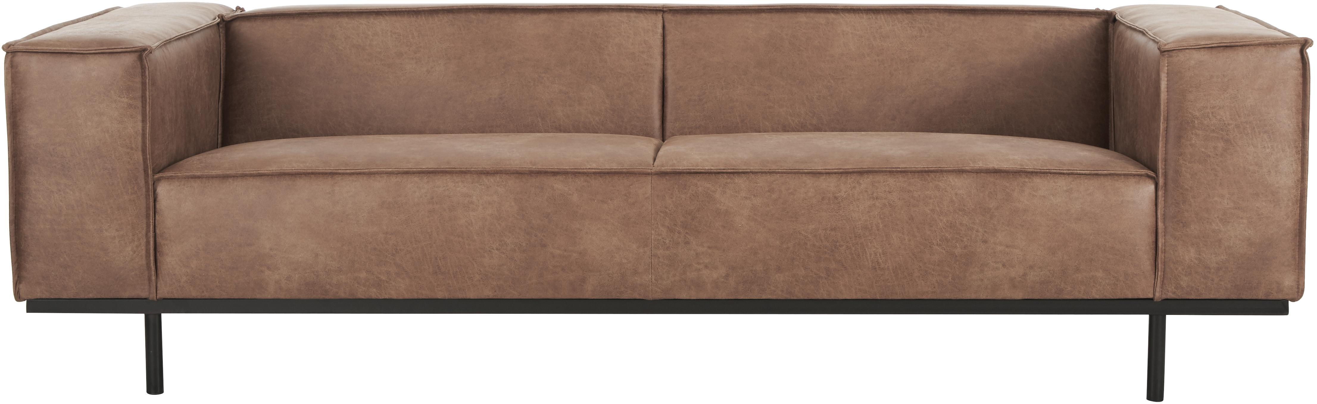 Divano 3 posti in pelle Abigail, Rivestimento: fibra di cuoio (70% pelle, Piedini: acciaio, verniciato, Pelle marrone, Larg. 230 x Prof. 95 cm
