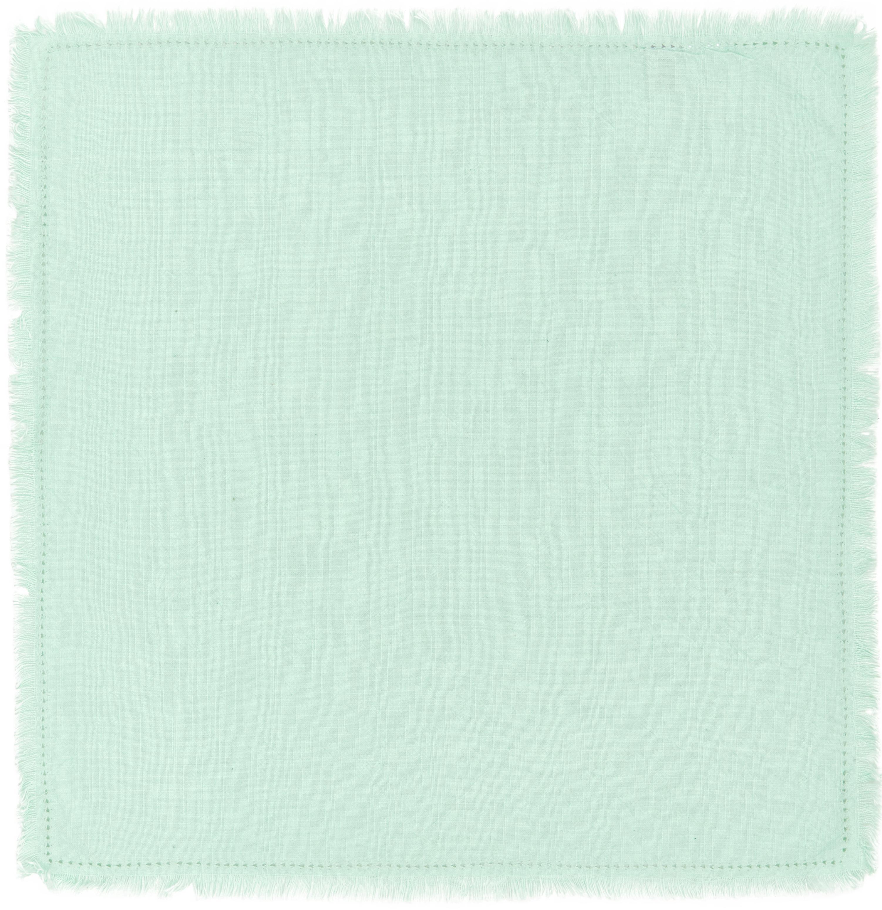 Katoenen servetten Hilma met franjes, 2 stuks, Katoen, Mintgroen, 45 x 45 cm