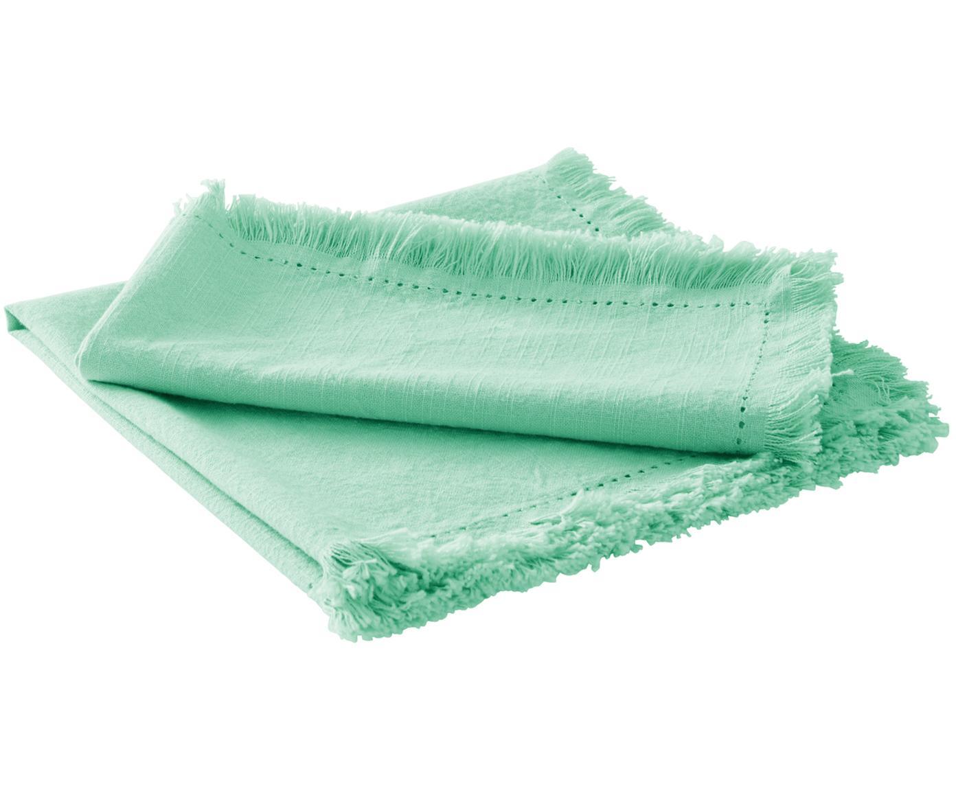 Serwetka z bawełny z frędzlami Hilma, 2 szt., Bawełna, Zielony miętowy, S 45 cm x D 45 cm