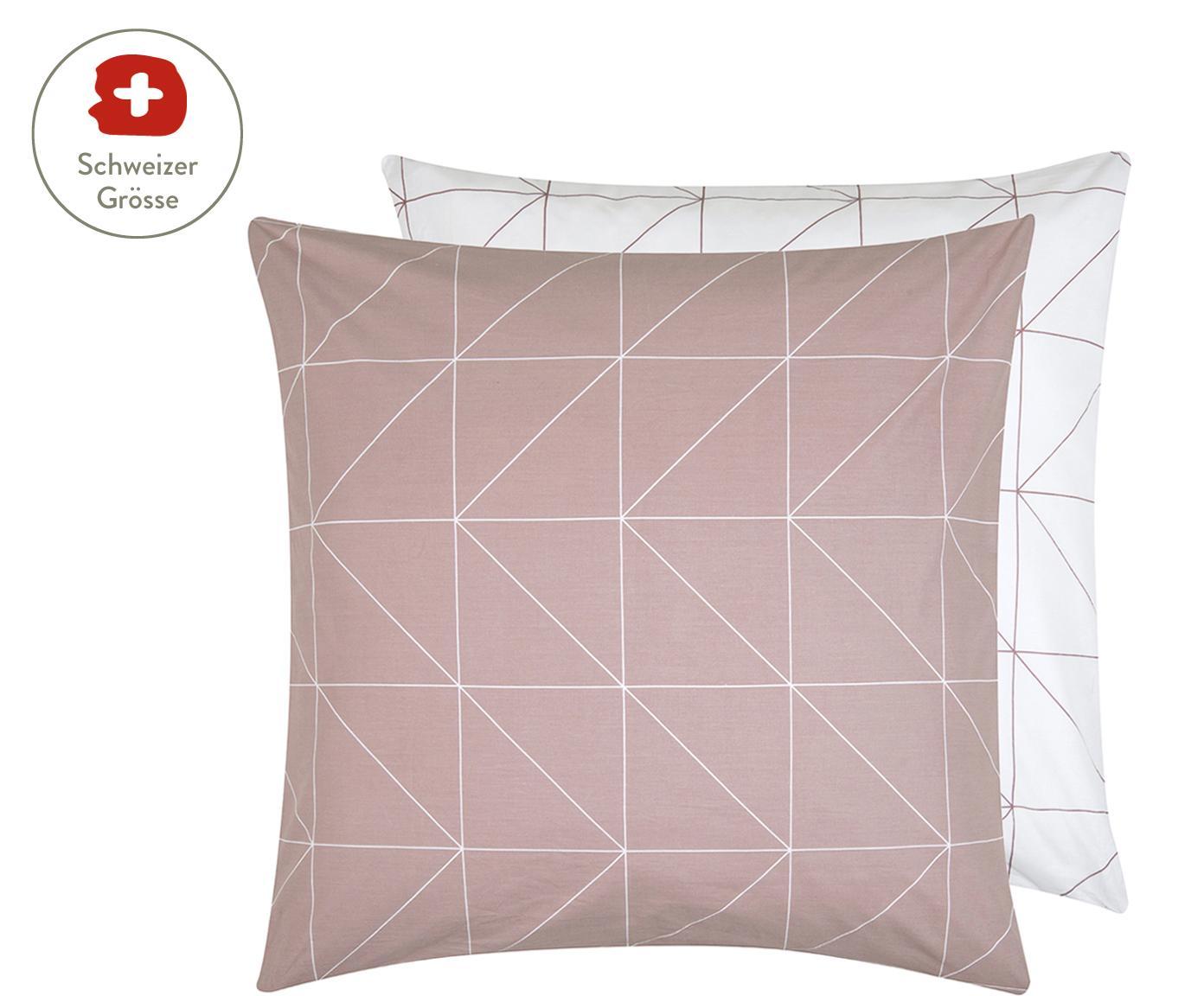 Baumwoll-Wendekissenbezug Marla mit grafischem Muster, Webart: Renforcé Fadendichte 144 , Mauve, Weiss, 65 x 65 cm