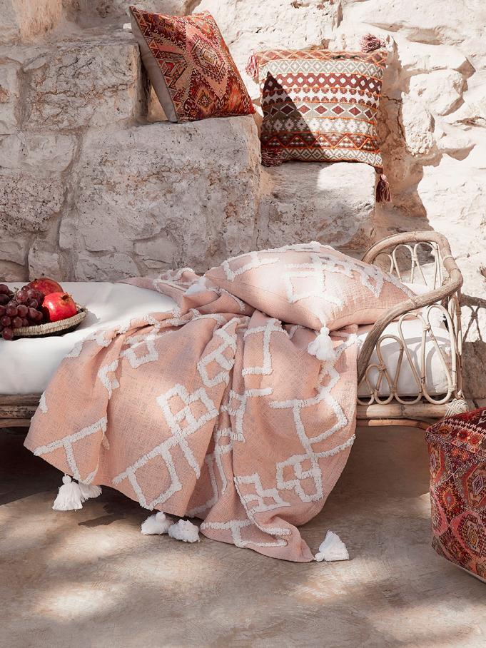 Kissenhülle Tikki mit getufteter Verzierung, 100% Baumwolle, Apricot, 40 x 40 cm
