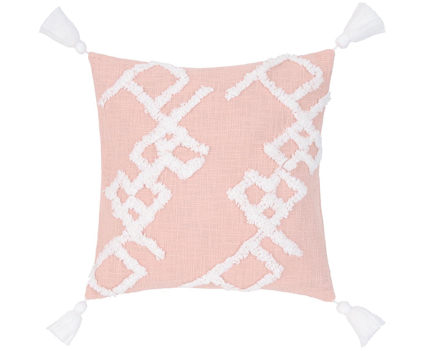 Poszewka na poduszkę z tuftowaną dekoracją Tikki, Bawełna, Brudny różowy, S 40 x D 40 cm
