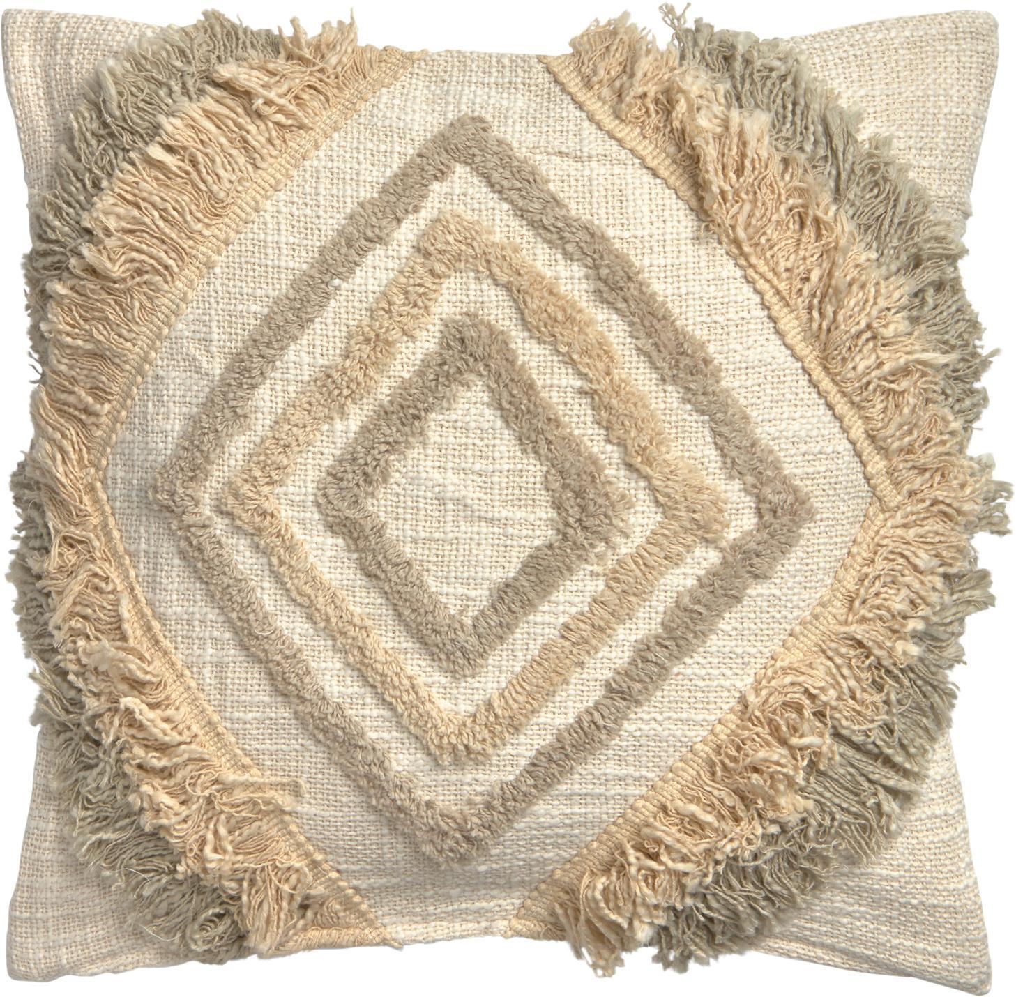 Boho kussenhoes Joana met decoratieve franjes, 100% katoen, Beige, taupe, saliegroen, 45 x 45 cm