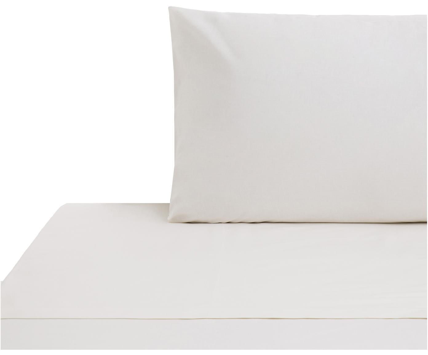 Set lenzuola in cotone ranforce Lenare 2 pz, Tessuto: Renforcé, Fronte e retro: avorio chiaro, 150 x 290 cm