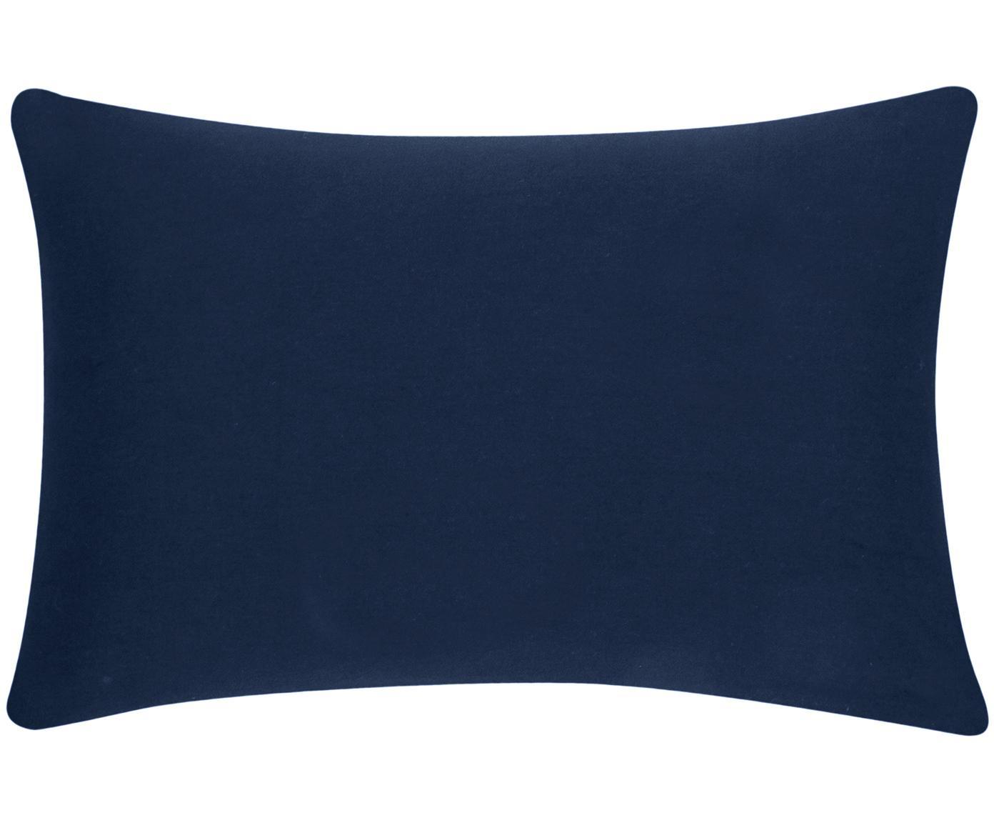 Funda de cojín de algodón Mads, Algodón, Azul marino, An 30 x L 50 cm