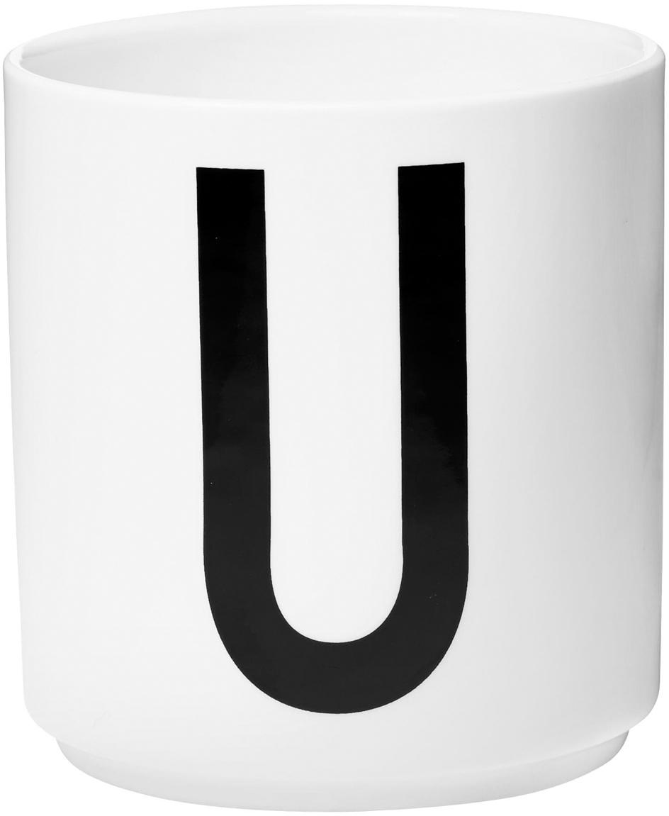 Taza de diseño Personal (variantes de A a Z), Porcelana fina de hueso (porcelana) Fine Bone China es una pasta de porcelana fosfática que se caracteriza por su brillo radiante y translúcido., Blanco, negro, Taza U