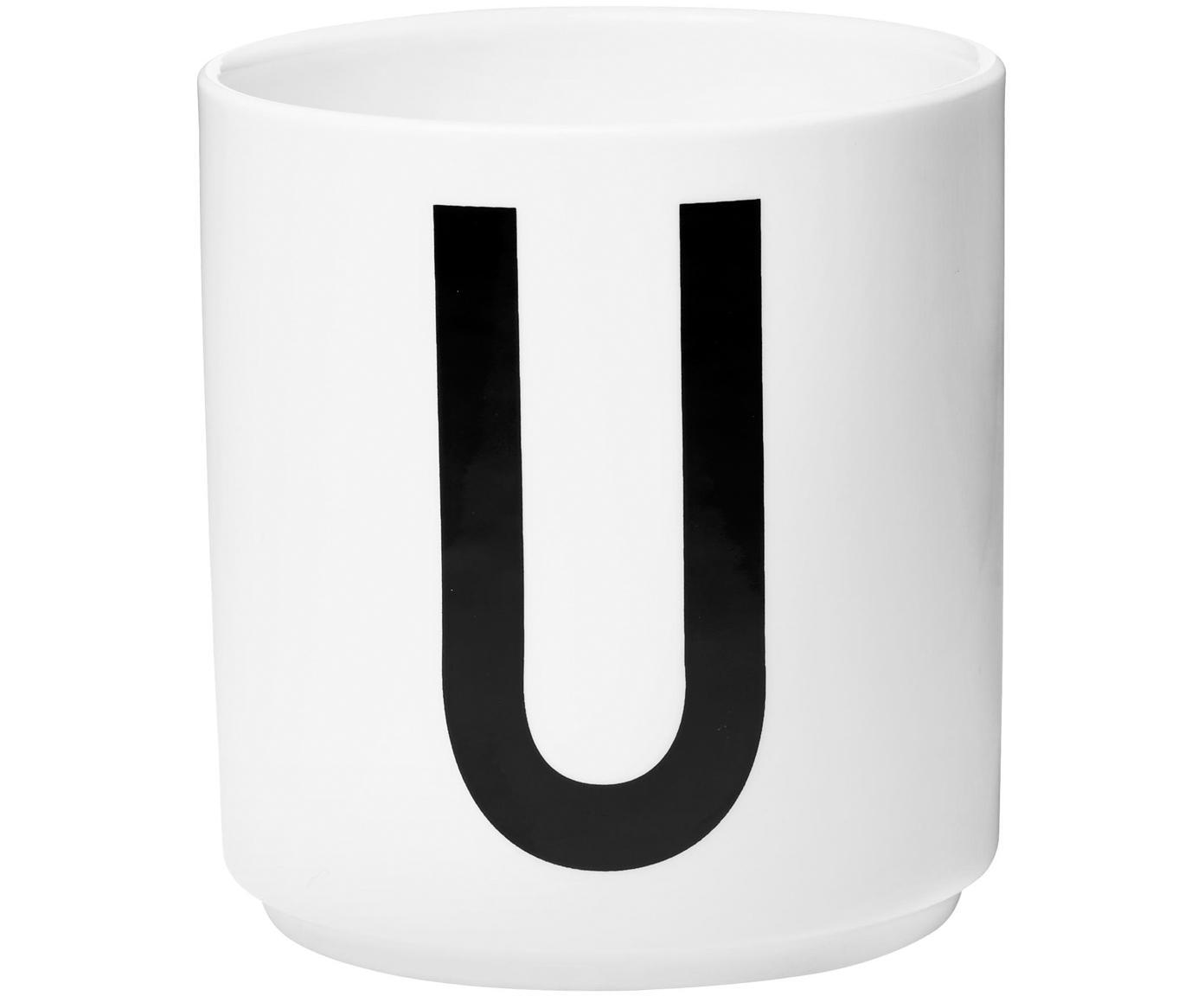 Design Becher Personal mit Buchstaben (Varianten von A bis Z), Fine Bone China (Porzellan), Weiss, Schwarz, Becher U