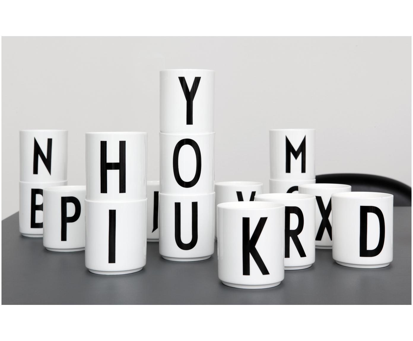 Kubek Personal (warianty od A do Z), Porcelana chińska, Biały, czarny, Ø 8 x W 9 cm