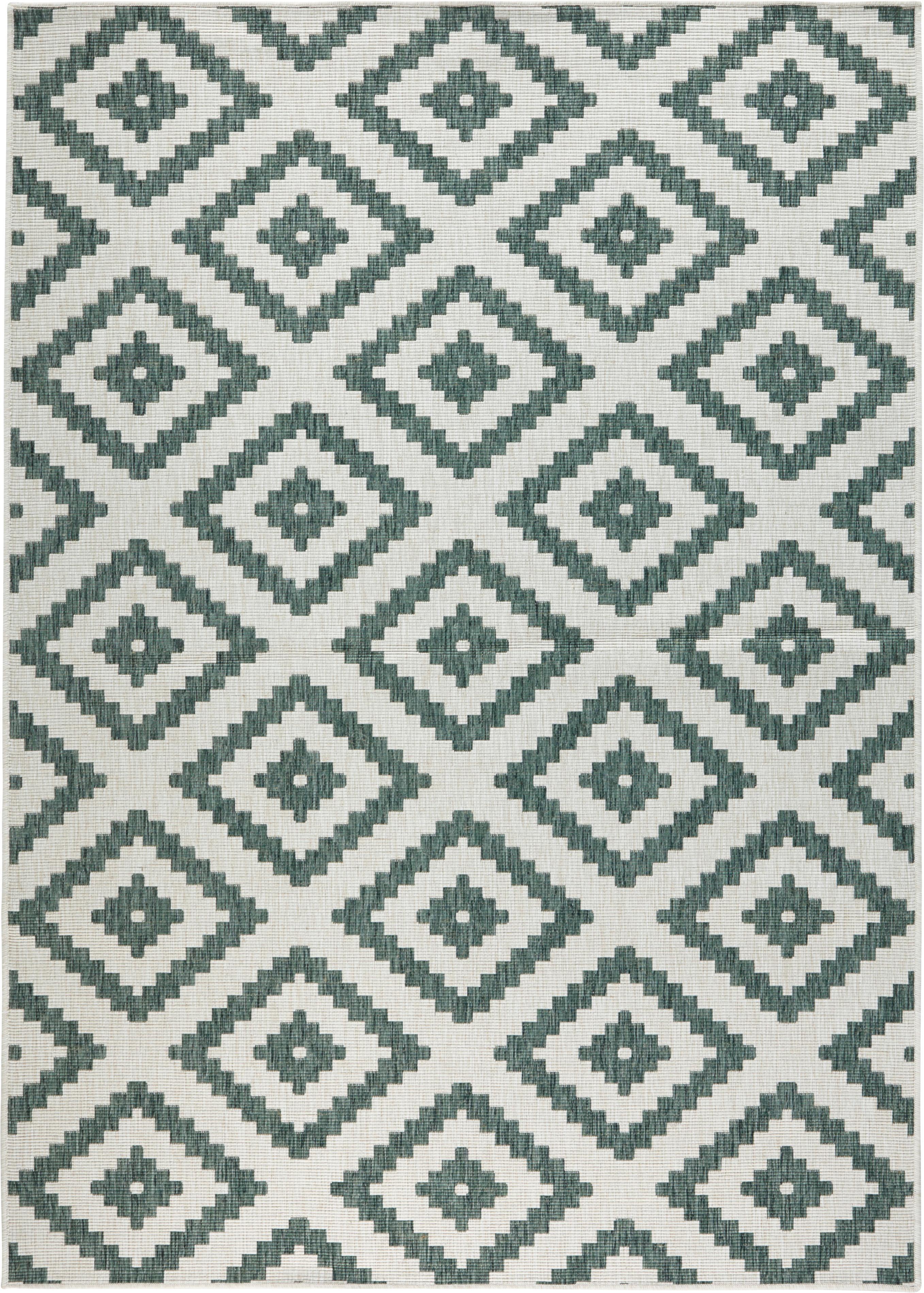 Tappeto reversibile da interno-esterno Malta, Verde, color crema, Larg. 200 x Lung. 290 cm (taglia L)
