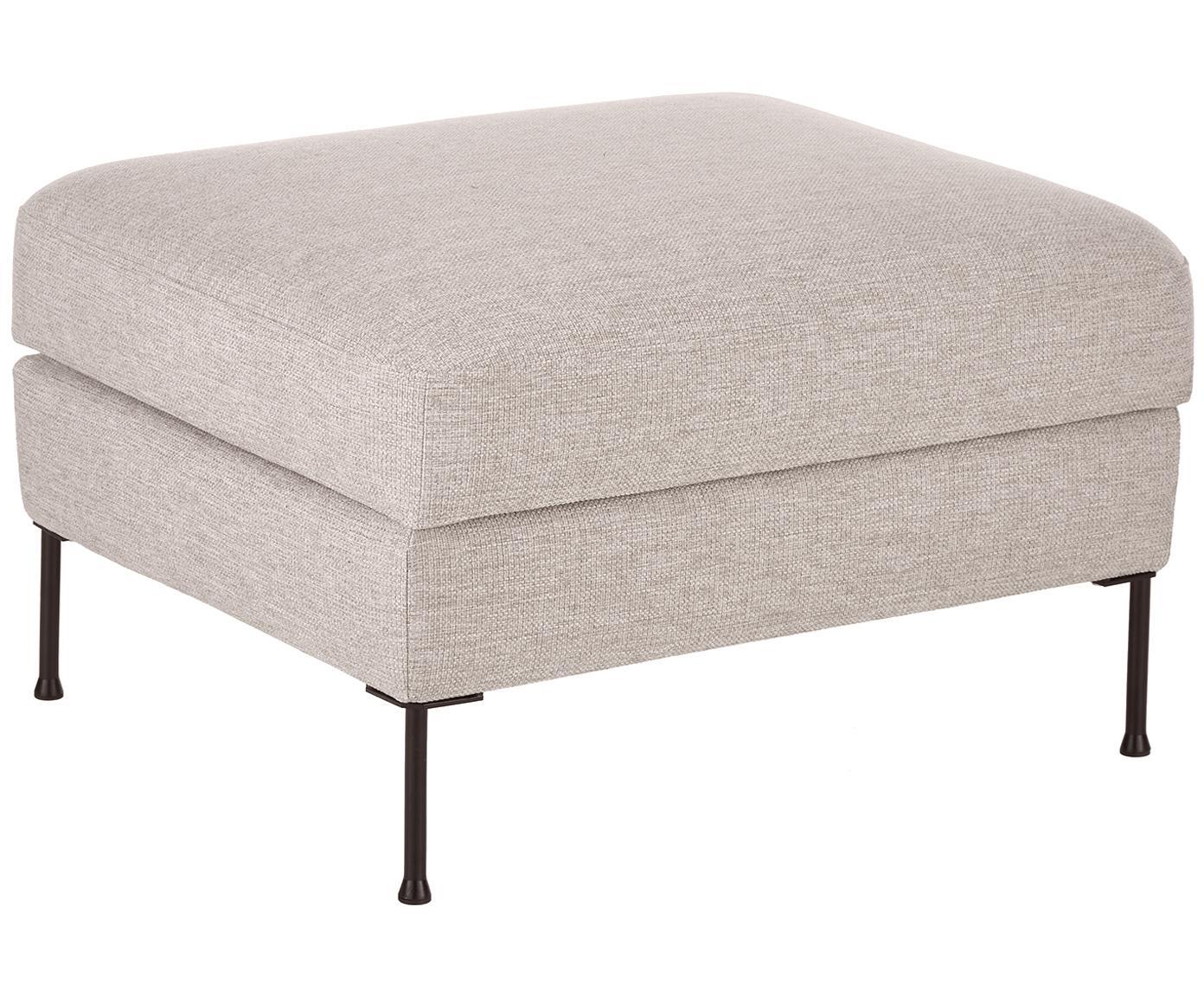 Poggiapiedi contenitore da divano Cucita, Rivestimento: tessuto (poliestere) 100., Struttura: legno di pino massiccio, Piedini: metallo verniciato, Beige, Larg. 85 x Alt. 42 cm
