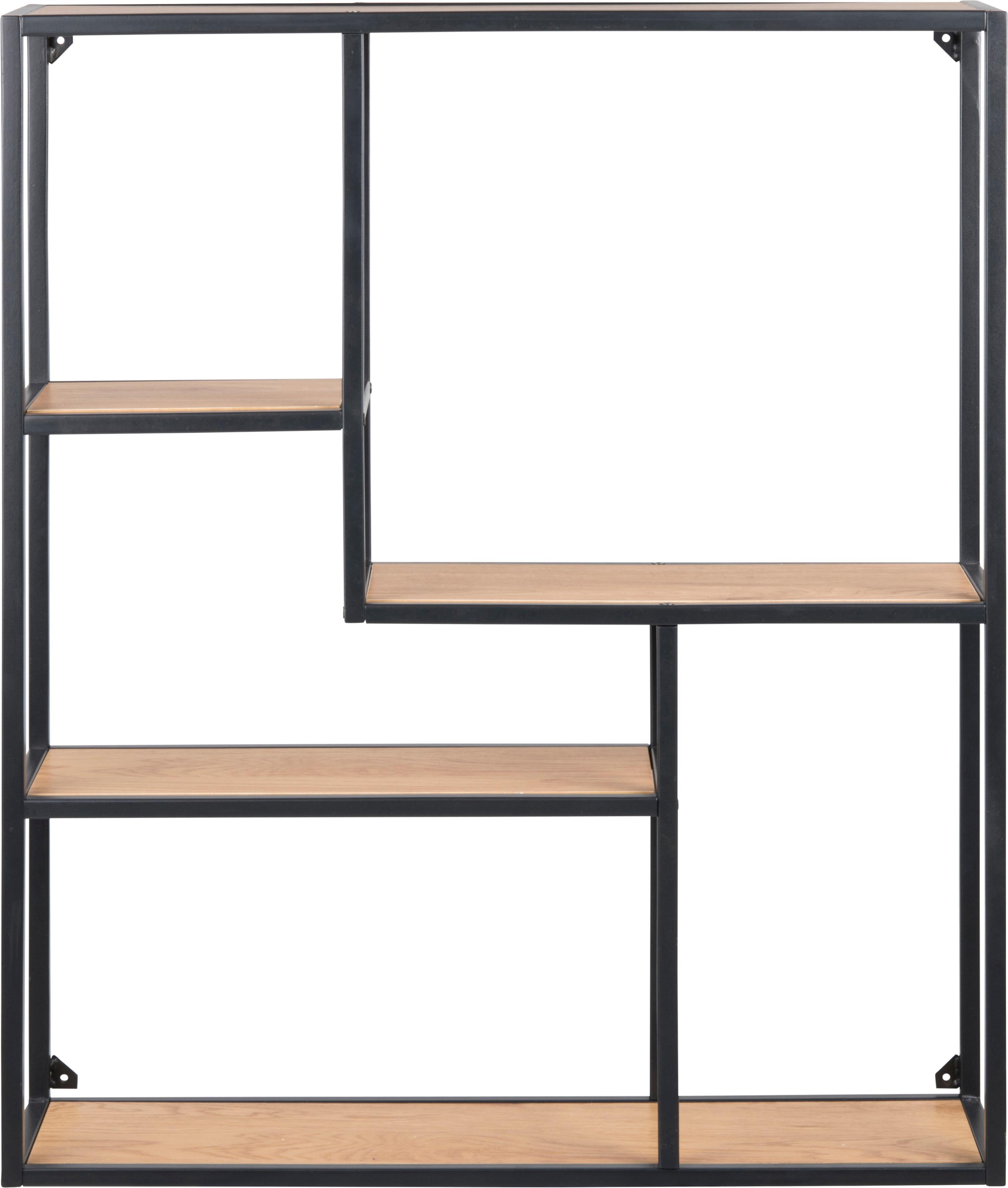 Wandrek Seaford Zig van hout en metaal, Frame: gepoedercoat metaal, Planken: eikenhoutkleurig. Frame: zwart, 75 x 91 cm