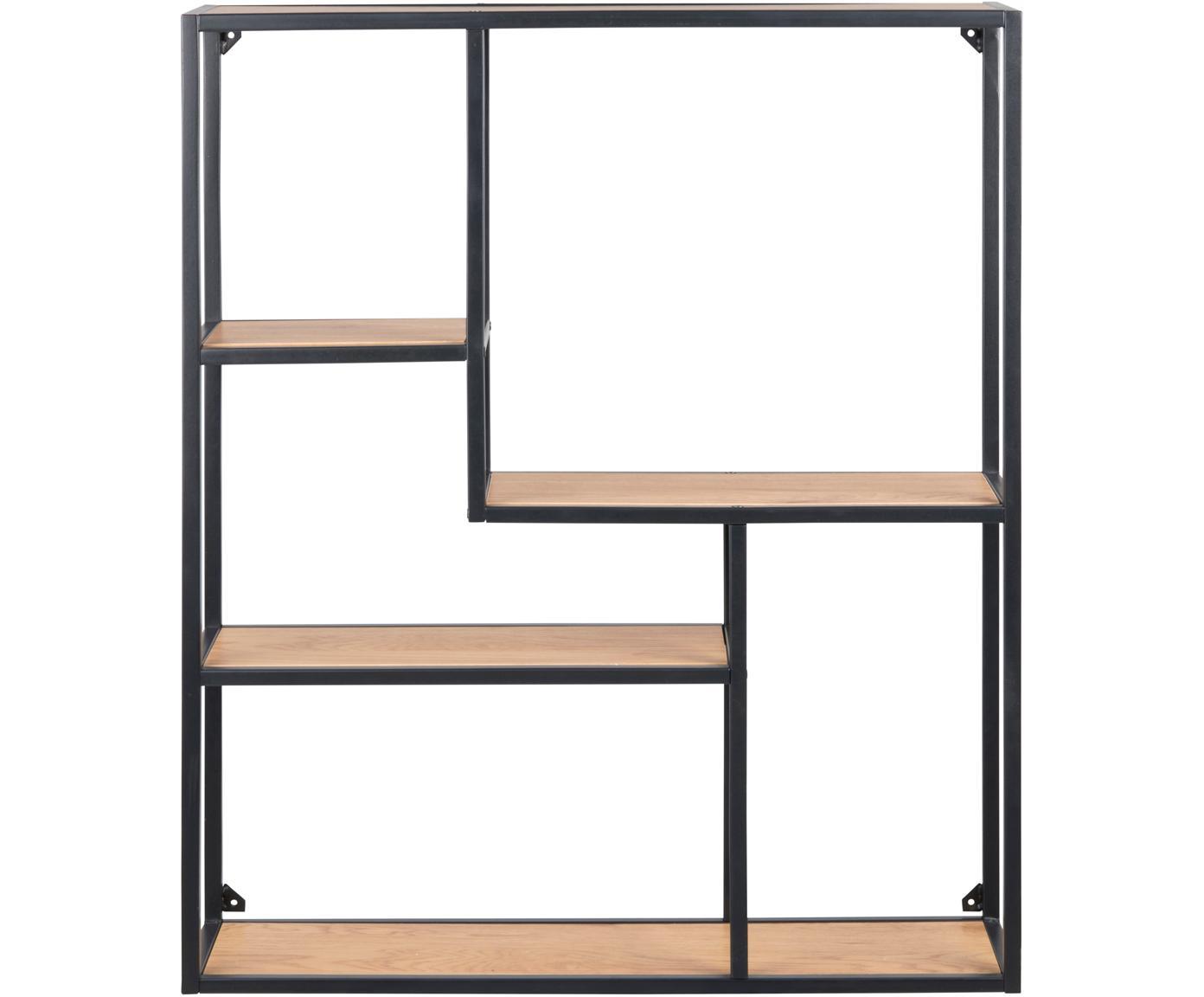 Metalen wandrek Seaford Zig, Frame: gepoedercoat metaal, Planken: eikenhoutkleurig. Frame: zwart, 75 x 91 cm
