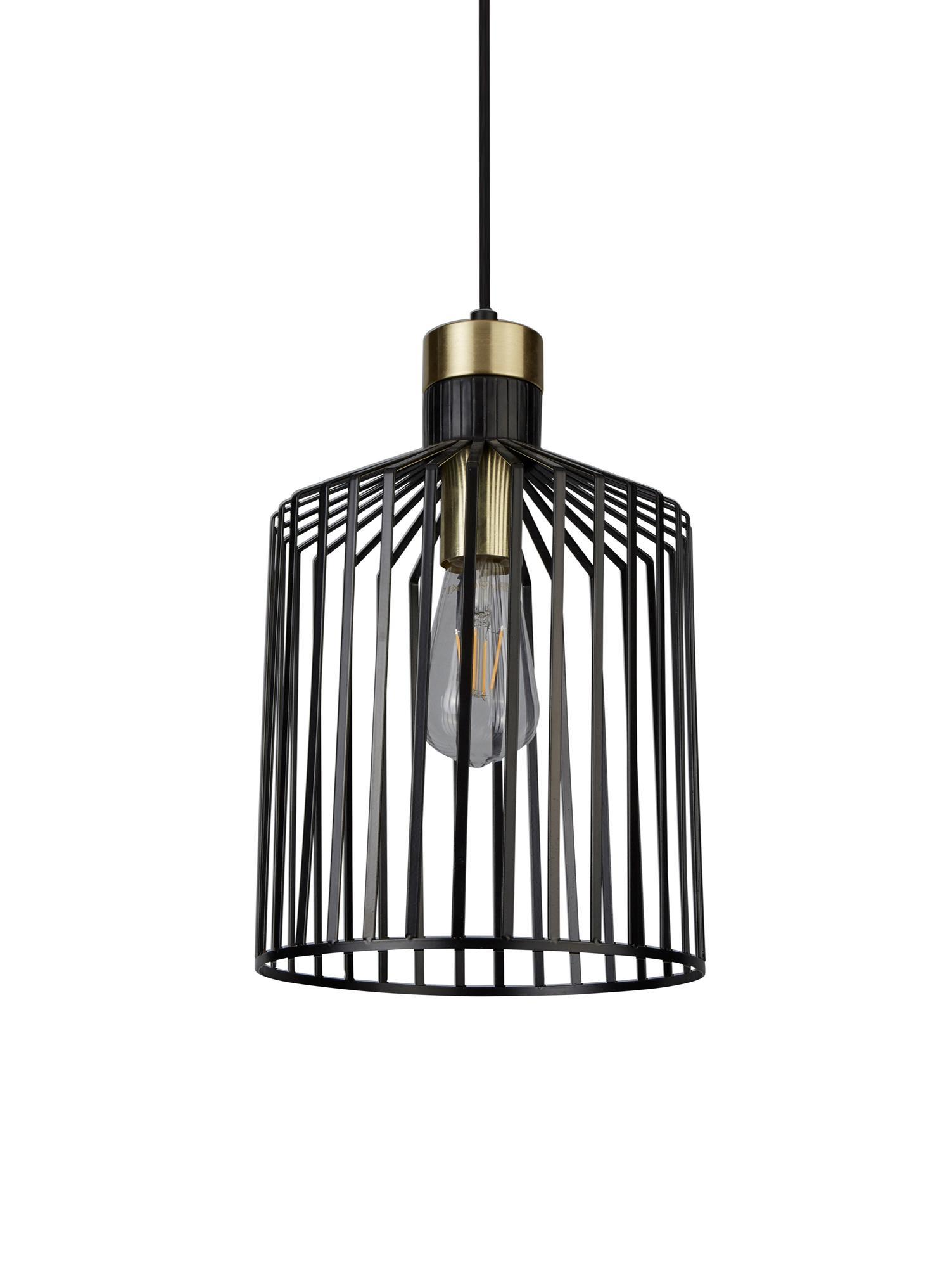 Kleine Pendelleuchte Bird Cage, Metall, beschichtet, Schwarz, Goldfarben, Ø 22 x H 36 cm