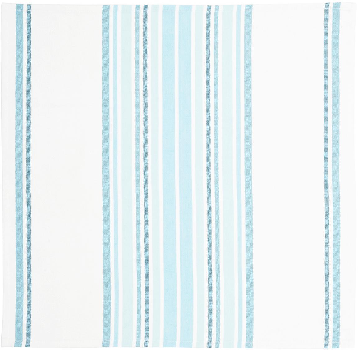 Serwetka z bawełny Katie, 2 szt., Bawełna, Biały, niebieski, S 50 x D 50 cm