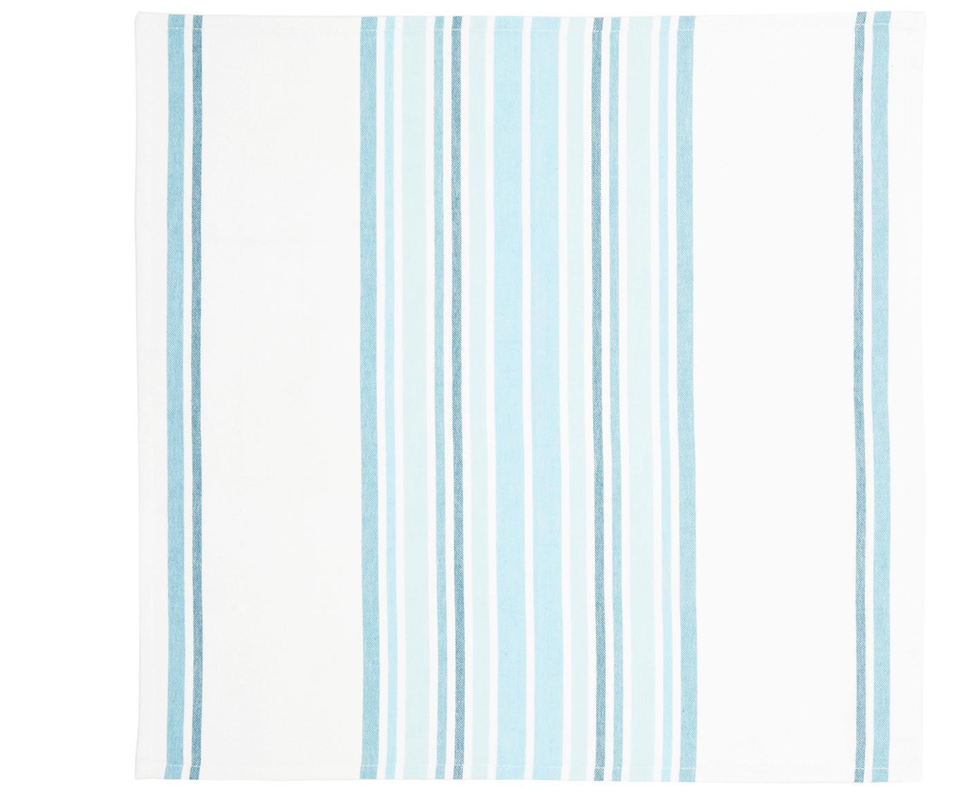 Baumwoll-Servietten Katie, 2 Stück, Baumwolle, Weiss, Blau, 50 x 50 cm