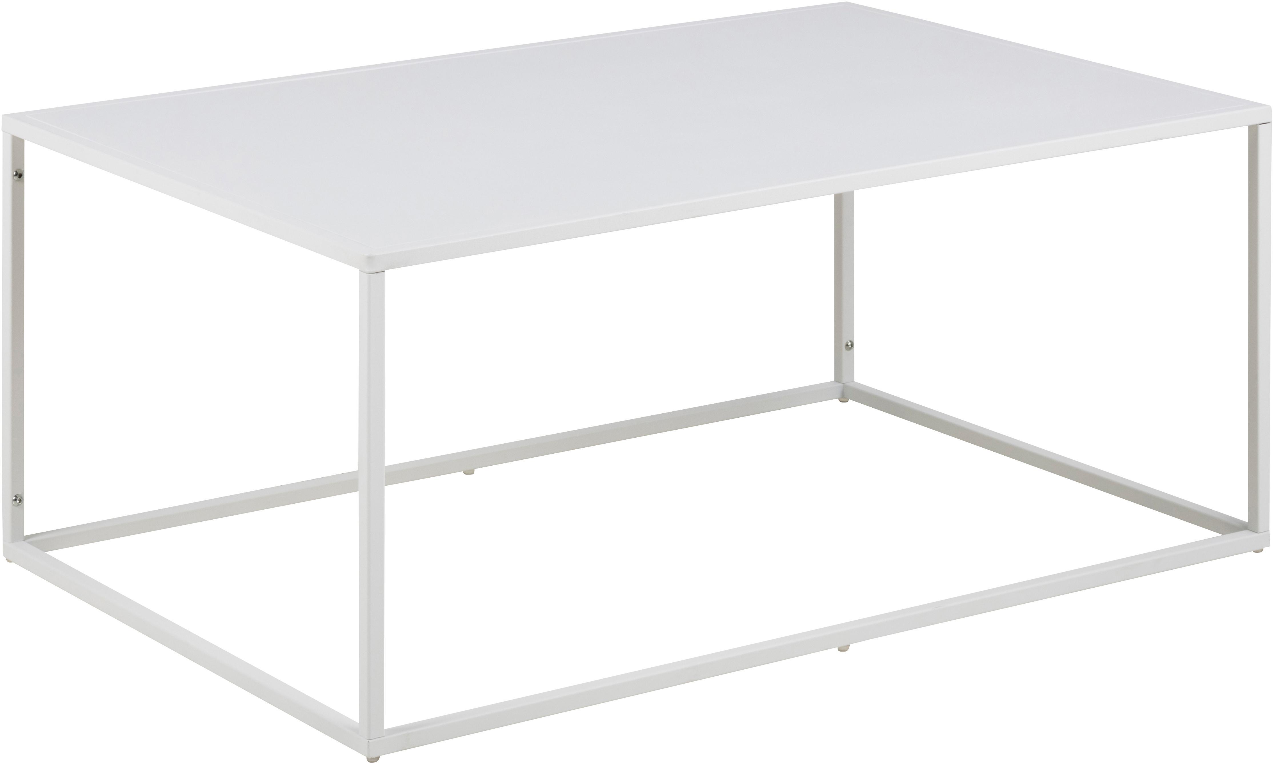 Metall-Couchtisch Newton in Weiß, Metall, pulverbeschichtet, Weiß, 90 x 40 cm