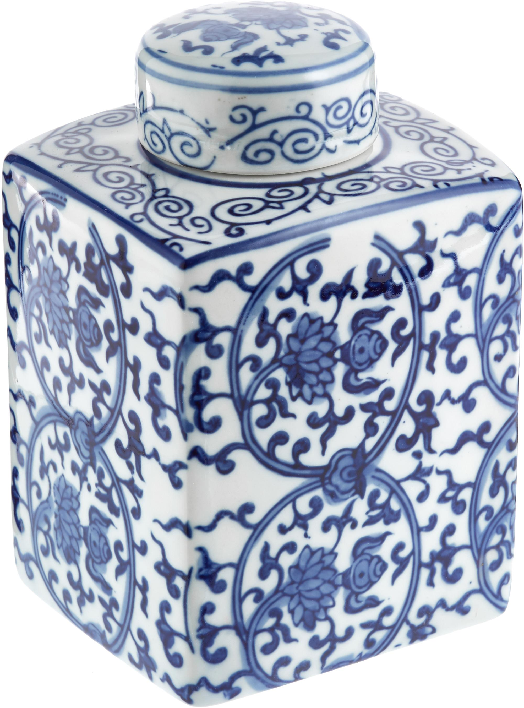 Tibor de porcelana Ella, Porcelana, Azul, blanco, An 11 x Al 17 cm