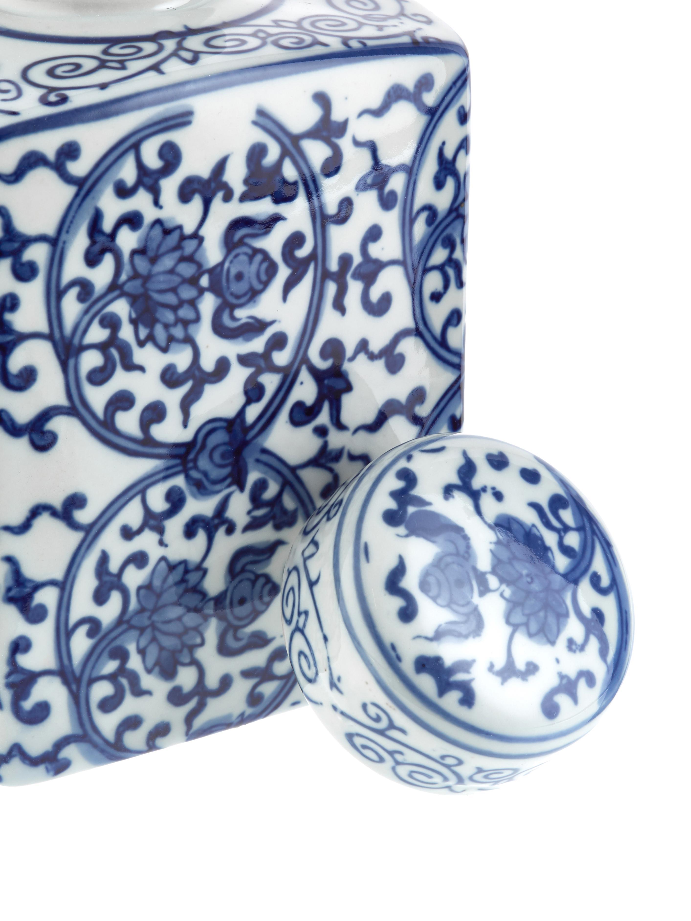 Deckelvase Ella aus Porzellan, Porzellan, Blau, Weiß, 11 x 17 cm