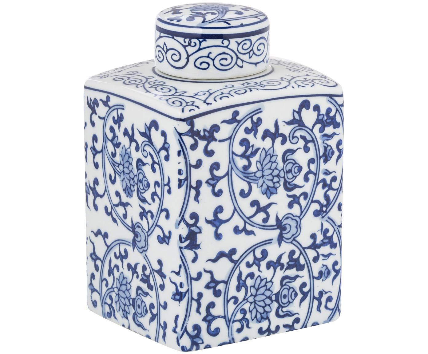 Vaso con coperchio in porcellana Ella, Porcellana, Blu, bianco, Larg. 11 x Alt. 17 cm