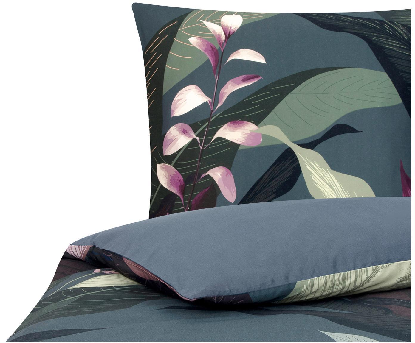 Katoensatijnen dekbedovertrek Flora, Weeftechniek: satijn Draaddichtheid 210, Bovenzijde: multicolour. Onderzijde: donkergrijs, 140 x 200 cm