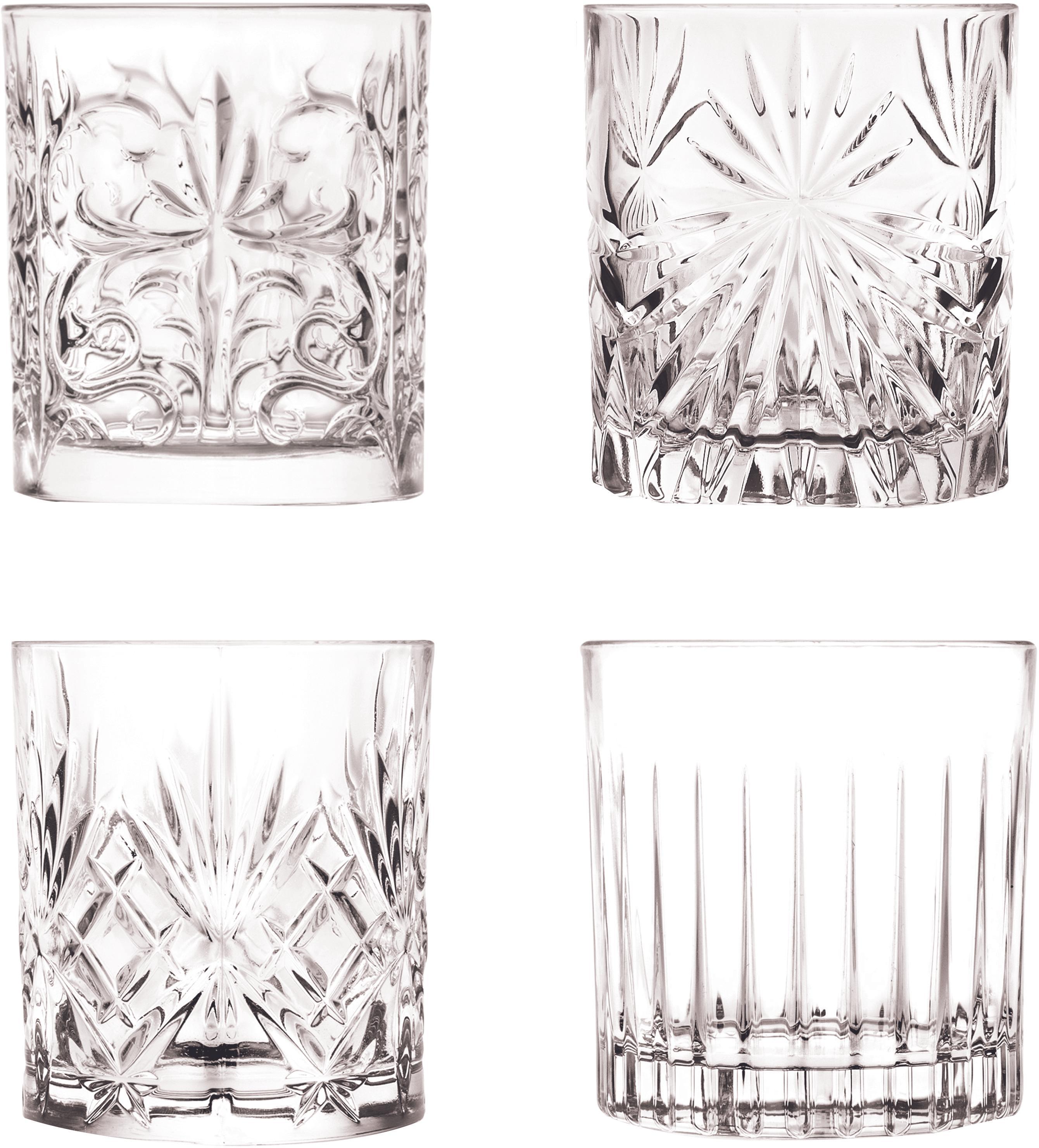Vasos old fashioned de cristal Bichiera, 4uds., Cristal, Transparente, Ø 8 x Al 9 cm