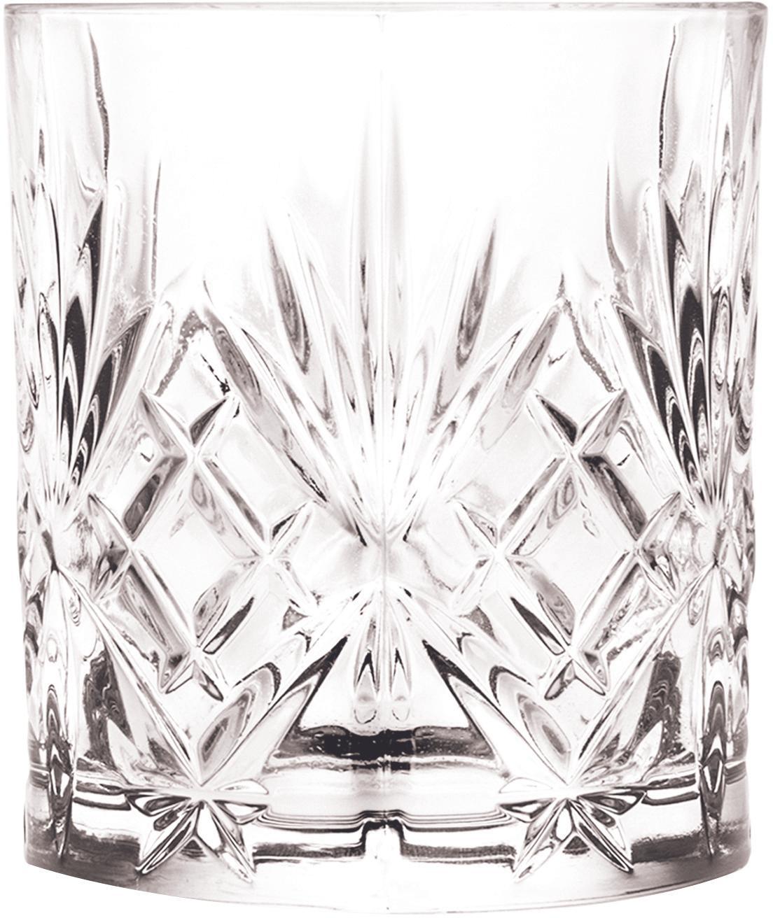 Kristallgläser Bichiera mit Reliefmuster, 4er-Set, Kristallglas, Transparent, Ø 8 x H 9 cm